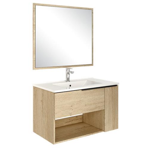 Mueble de baño con lavabo y espejo lunas roble 80x45 cm