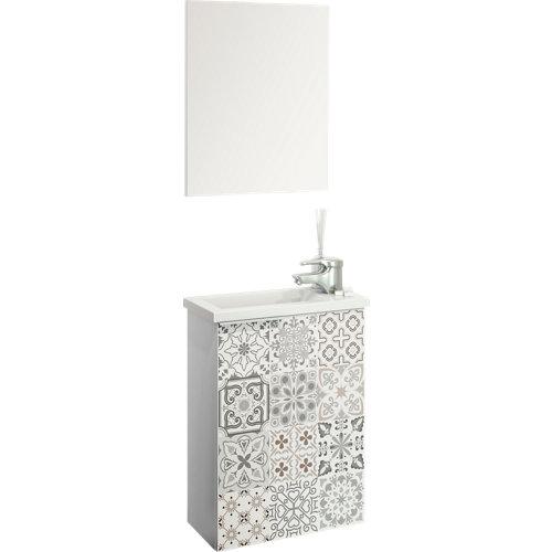 Mueble de baño con lavabo y espejo compact blanco 40x22 cm