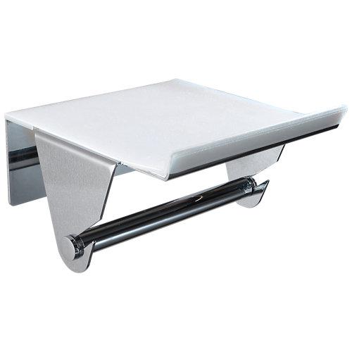 Portarollo wc yass gris / plata brillante 13x7.5x12.5 cm