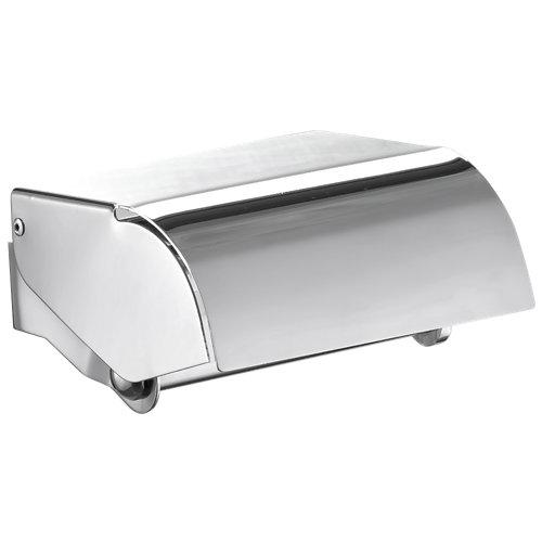 Portarollo wc bassic gris / plata brillante 13x7.5x12 cm