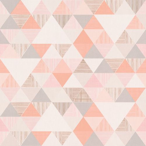 Papel pintado triángulos rosa 5,3 m²