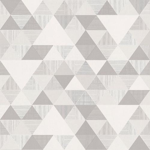 Papel pintado triángulos gris 5,3 m²