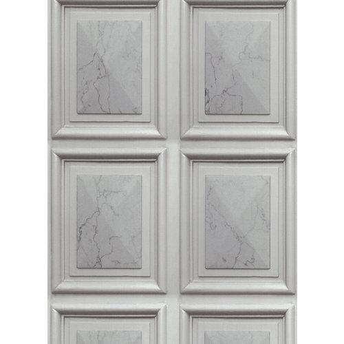 Papel pintado molduras madera gris 5 m²