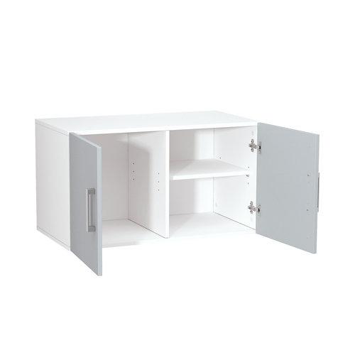 Armario madera en kit en color gris de 44x80x42 cm con 2 puertas