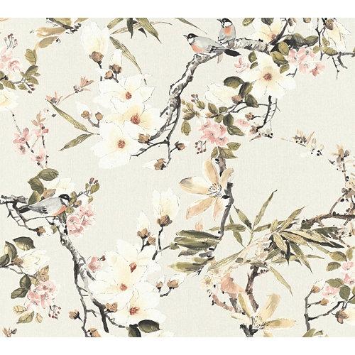Papel pintado vinílico floral pajaritos beige