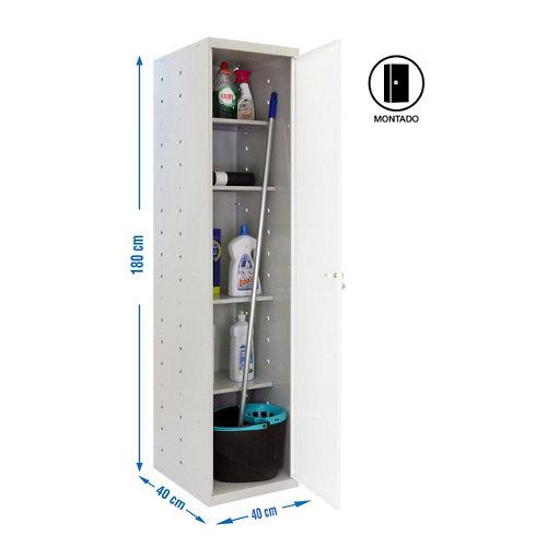 Armario montado cabinet 1 puerta 4 estantes blanco