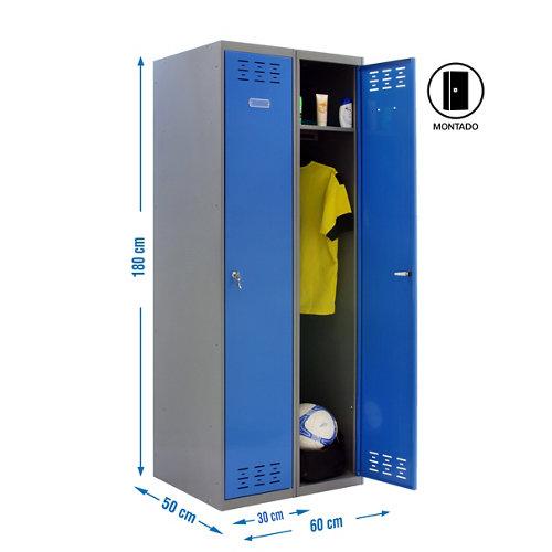 Taquilla single 30 montada 2 columnas 2 puertas azul