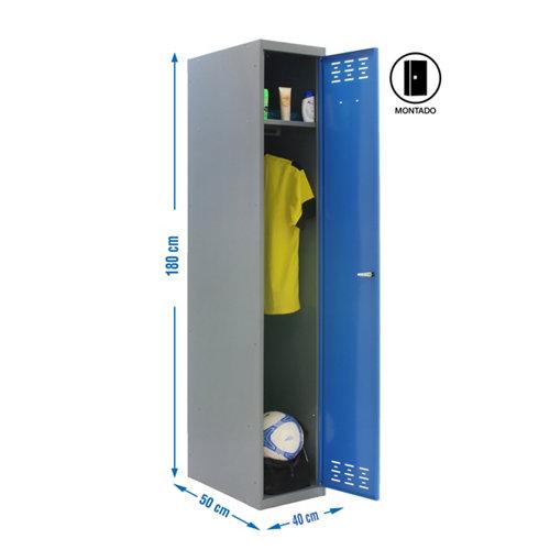 Taquilla single 40 montada 1 columna 1 puerta azul