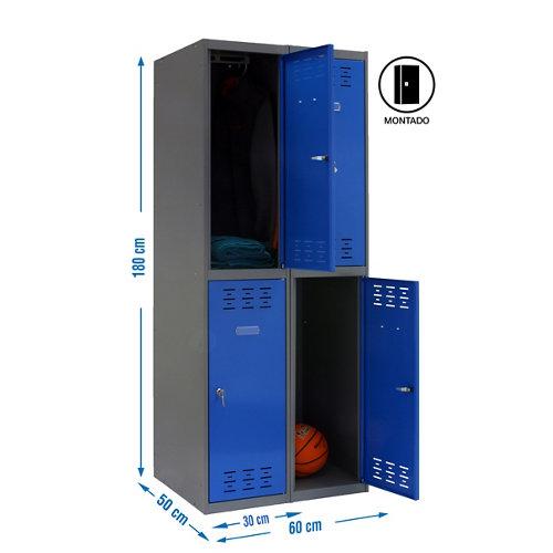 Taquilla tandem 30 montada 2 columnas 4 puertas azul