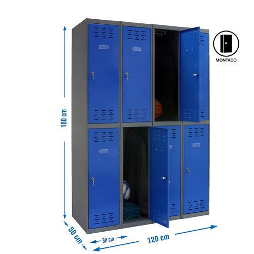 Taquilla tandem 30 montada 4 columnas 8 puertas azul