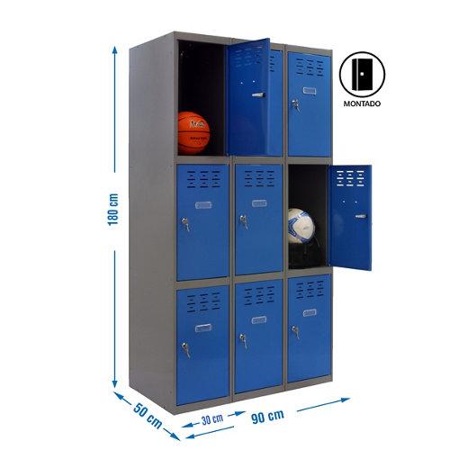 Taquilla 3 doors 30 montada 3 columnas 9 puertas azul