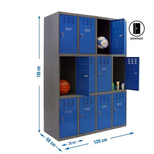 Taquilla 3 doors 30 montada 4 columnas 12 puertas azul