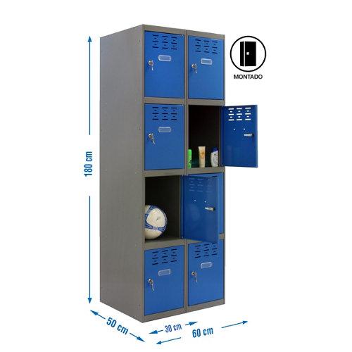Taquilla 4 doors 30 montada 2 columnas 8 puertas azul