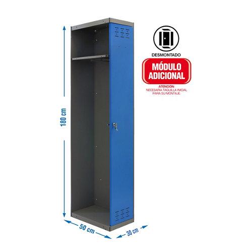 Taquilla desmontada 30 1 columna 1 puerta adicional azul