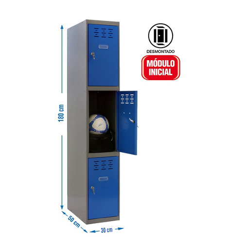 Taquilla desmontada 1 columna 3 puertas inicial 30 azul