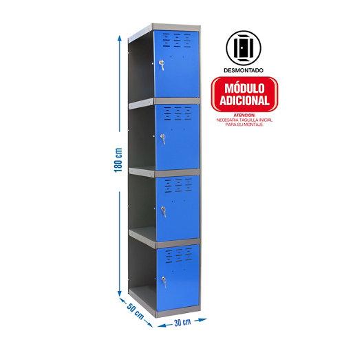 Taquilla desmontada 1 columna 4 puertas adicional 30 azul