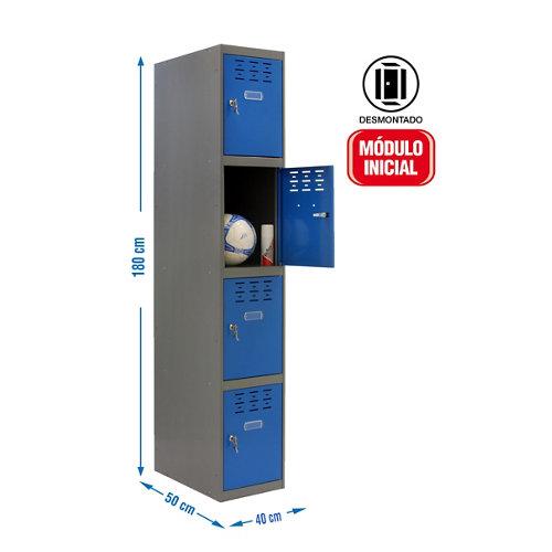 Taquilla desmontada 1 columna 4 puertas inicial 40 azul
