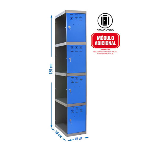 Taquilla desmontada 1 columna 4 puertas adicional 40 azul