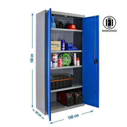 Armario desmontado multiuso 2 puertas 4 estantes 100 azul