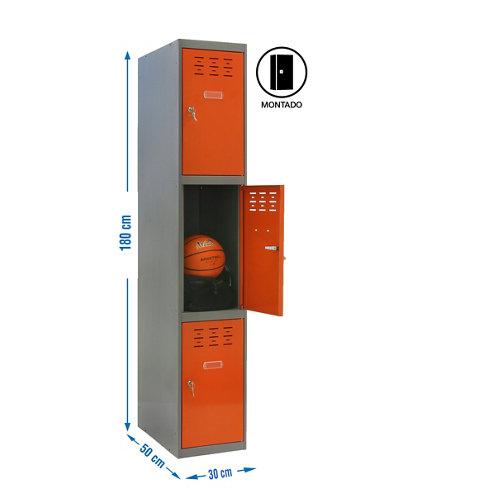 Taquilla 3 doors 30 montada 1 columna 3 puertas naranja