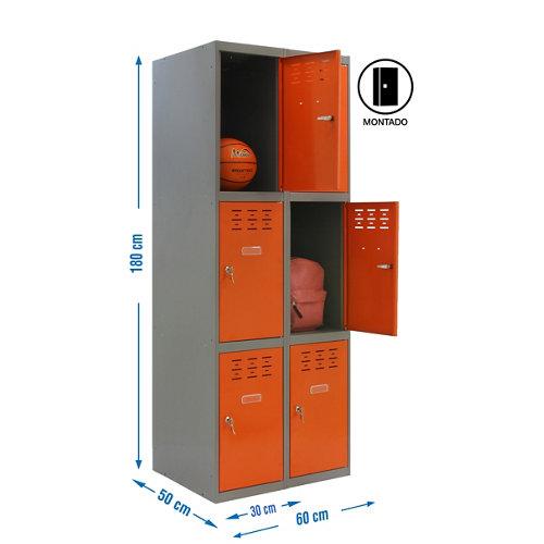 Taquilla 3 doors 30 montada 2 columnas 6 puertas naranja