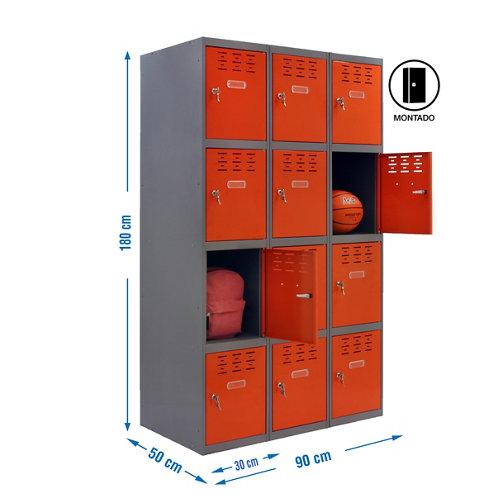 Taquilla 4 doors 30 montada 3 columnas 12 puertas naranja