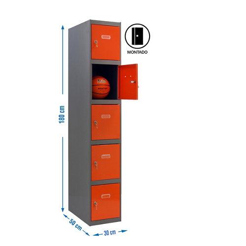 Taquilla 5 doors 30 montada 1 columna 5 puertas naranja