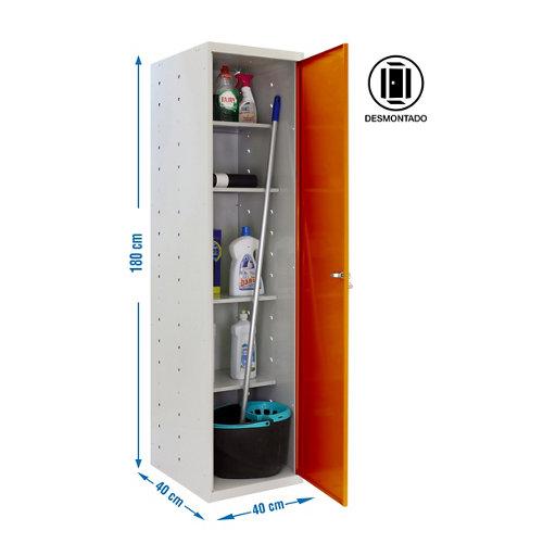 Armario desmontado cabinet 1 puerta 4 estantes 40 naranja