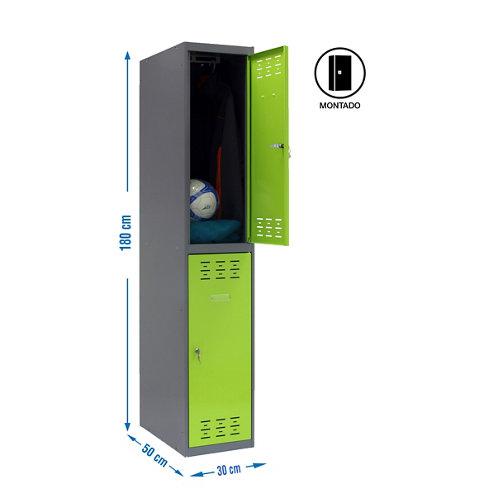Taquilla tandem 30 montada 1 columna 2 puertas verde