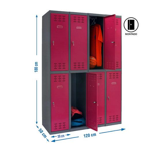 Taquilla tandem 30 montada 4 columnas 8 puertas rosa