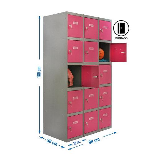 Taquilla 5 doors 30 montada 3 columnas 15 puertas rosa