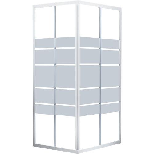 Mampara cuadrada corredera essential serigrafiado perfil blanco 90x90 cm