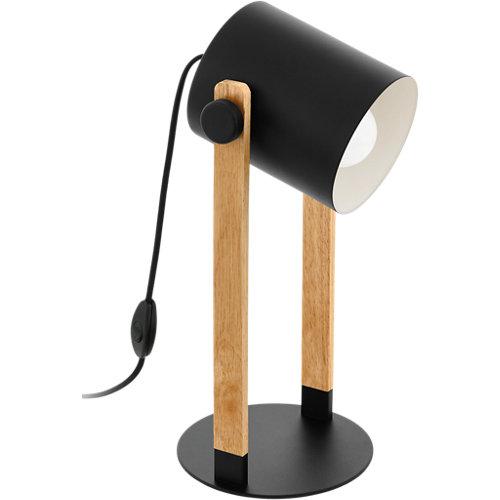 Lámpara de sobremesa hornwood 1 luz negra y madera