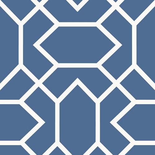 Papel pintado adhesivo geométrico azul 2,6 m²