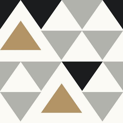 Papel pintado autoadhesivo vinílico geométrico triángulos negro