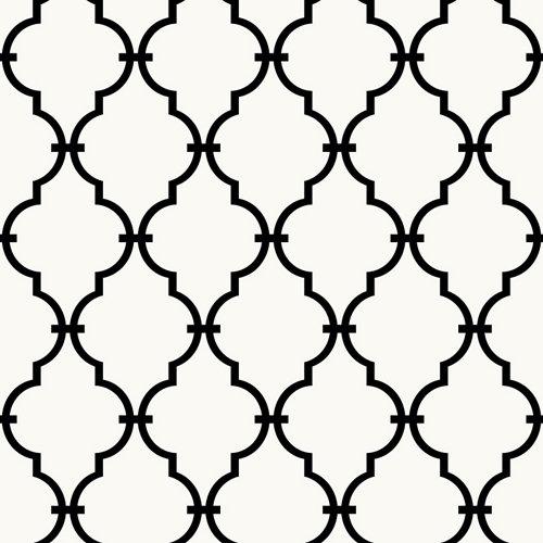 Papel pintado adhesivo arabesco blanco y negro 2,6 m²