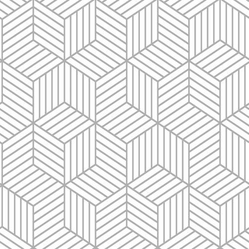 Papel pintado adhesivo hexágono gris 2,6 m²