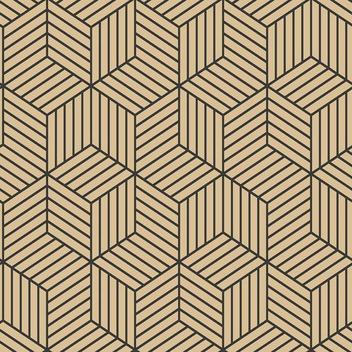 Papel pintado adhesivo hexágono negro oro 2,6 m²