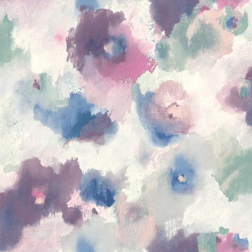 Papel pintado adhesivo floral difuminado 2,6 m²