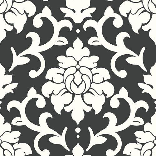 Papel pintado adhesivo damasco negro 2,6 m²