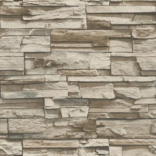 Papel pintado adhesivo piedra gris 2,6 m² & marrón 2,6 m²