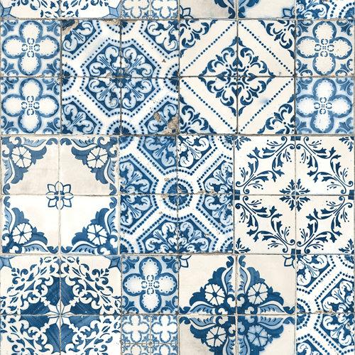 Papel pintado adhesivo hidráulico azul 2,6 m²