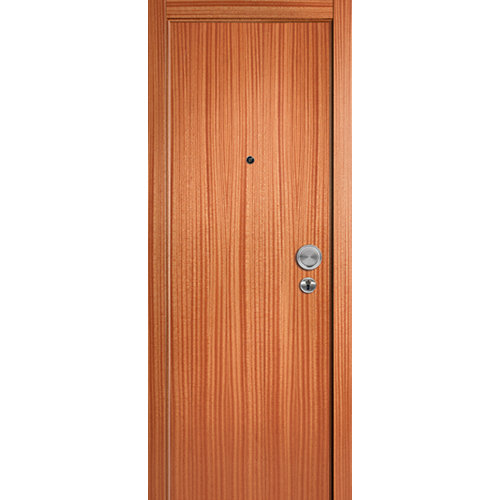 Puerta de entrada blindada lisa izquierda sapelly/roble de 85.7x205 cm