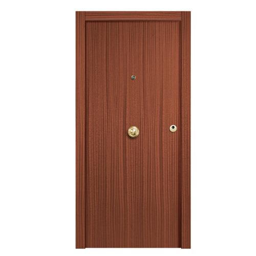 Puerta de entrada blindada lisa izquierda sapelly/blanco de 85.7x205 cm