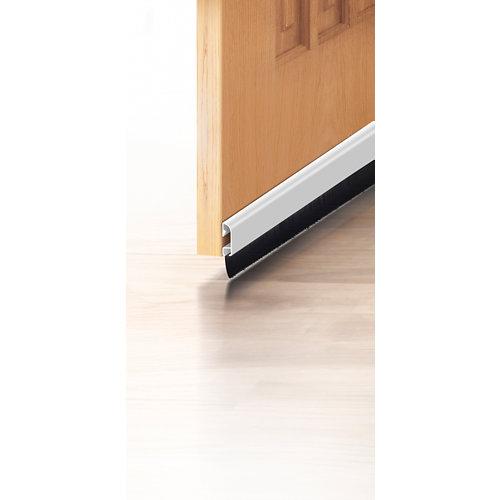 Burlete aluminio adhesivo cepillo blanco para puerta 1 m
