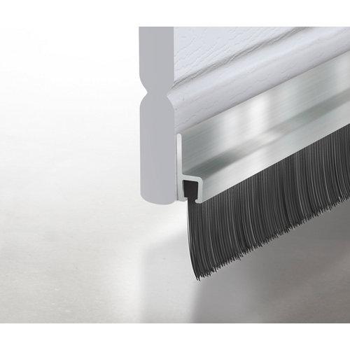 Burlete aluminio adhesivo cepillo negro para puerta 1,25 m