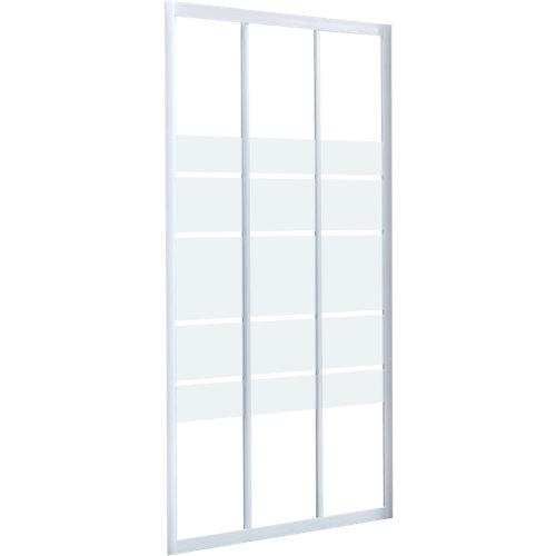 Mampara corredera essential serigrafiado perfil blanco 90x185 cm