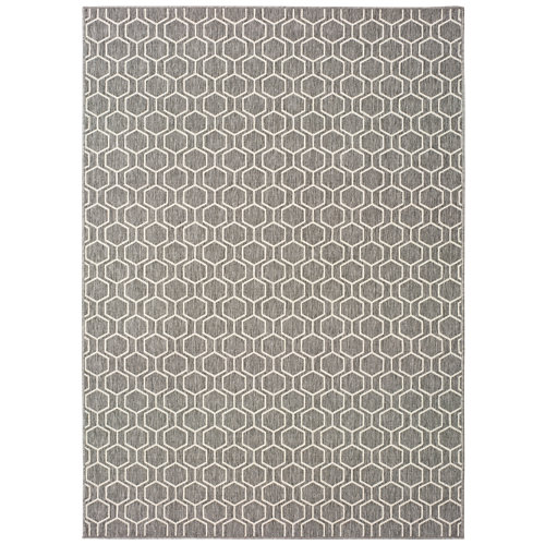 Alfombra gris polipropileno in-out clhoe 20405 120 x 170cm