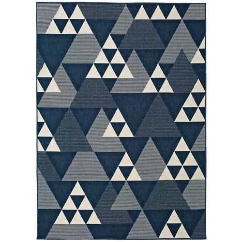 Alfombra azul polipropileno in-out clhoe 20409 120 x 170cm