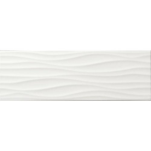 Azulejo cerámico frosty 30x60 blanco brillo 3d organic artens